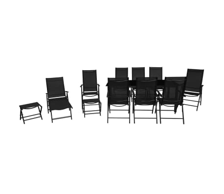 vidaXL 12 Piece Outdoor Dining Set Aluminium Black[3/16]
