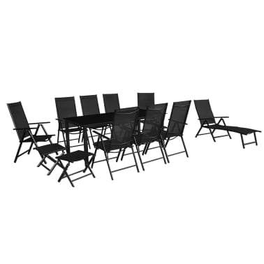 vidaXL 12 Piece Outdoor Dining Set Aluminium Black[2/16]