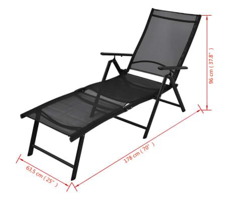 vidaxl sonnenliege klappbar aluminium 178x63 5x96 cm schwarz g nstig kaufen. Black Bedroom Furniture Sets. Home Design Ideas
