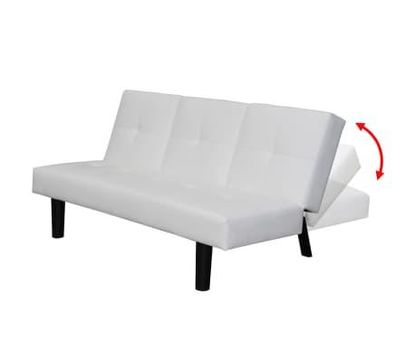 Vidaxl divano letto con tavolo a scomparsa in pelle sintetica bianco - Divano con letto a scomparsa ...