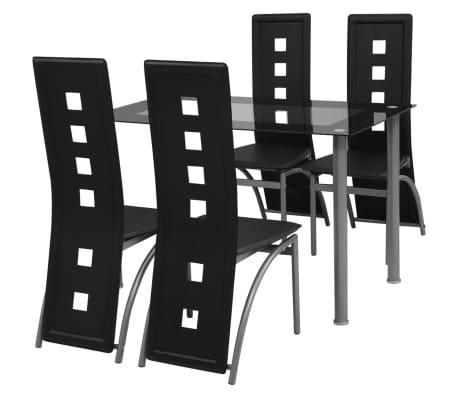 vidaXL Pětidílný jídelní set černý