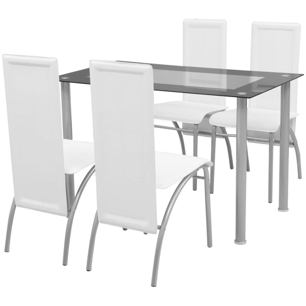vidaXL Set masă cu scaune, 5 piese, Alb poza vidaxl.ro