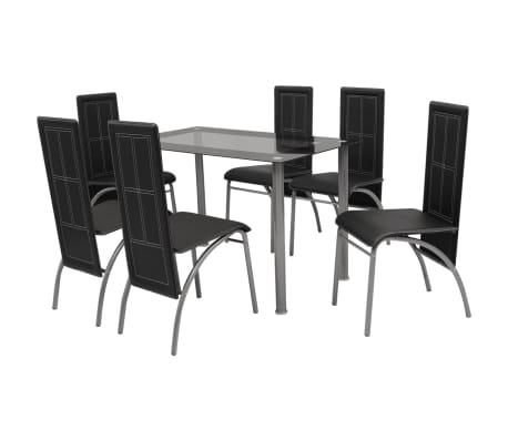 vidaXL Sedem Delni Jedilni Komplet Pohištva Črne Barve
