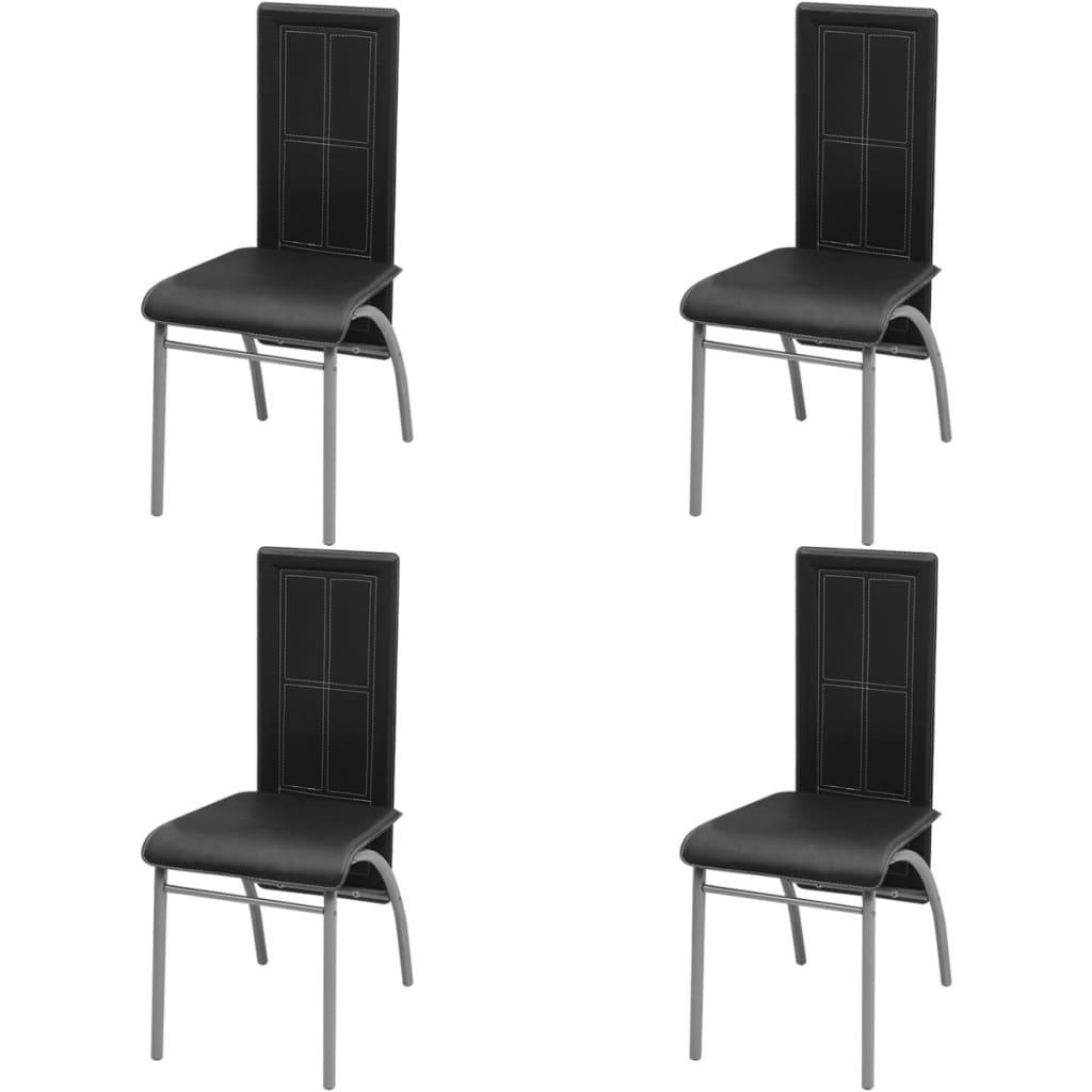 vidaXL Καρέκλες Τραπεζαρίας 4 τεμ. Μαύρες
