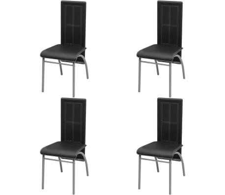 vidaXL virtuves krēsli, 4 gab., melna mākslīgā āda
