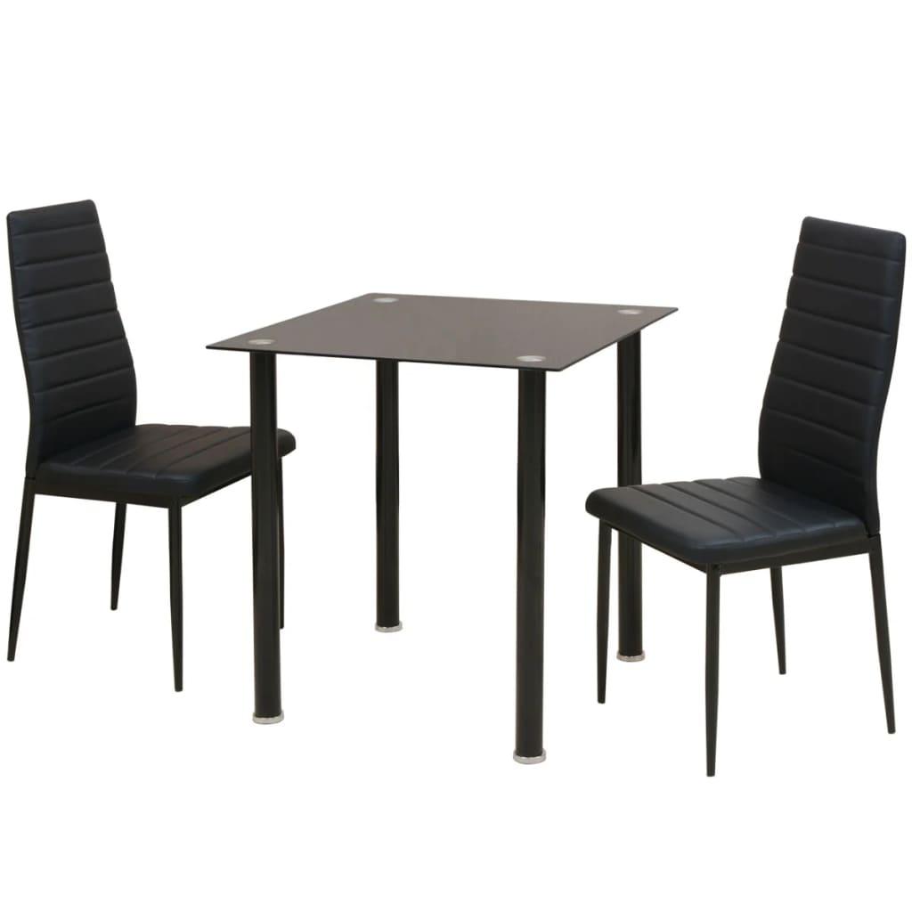 vidaXL Třídílný jídelní set stolu a židlí černý