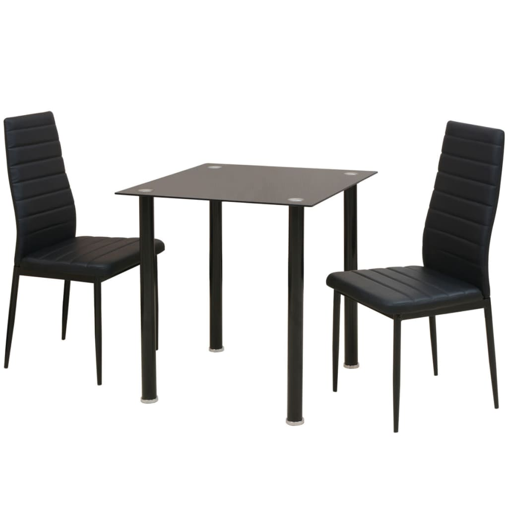 vidaXL Σετ Τραπεζαρίας και Καρέκλας Τριών Τεμαχίων Μαύρο