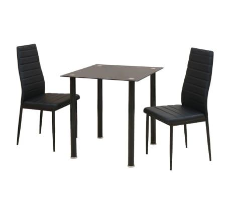 vidaXL Ensemble de table et chaise de salle à manger 3 pièces noir