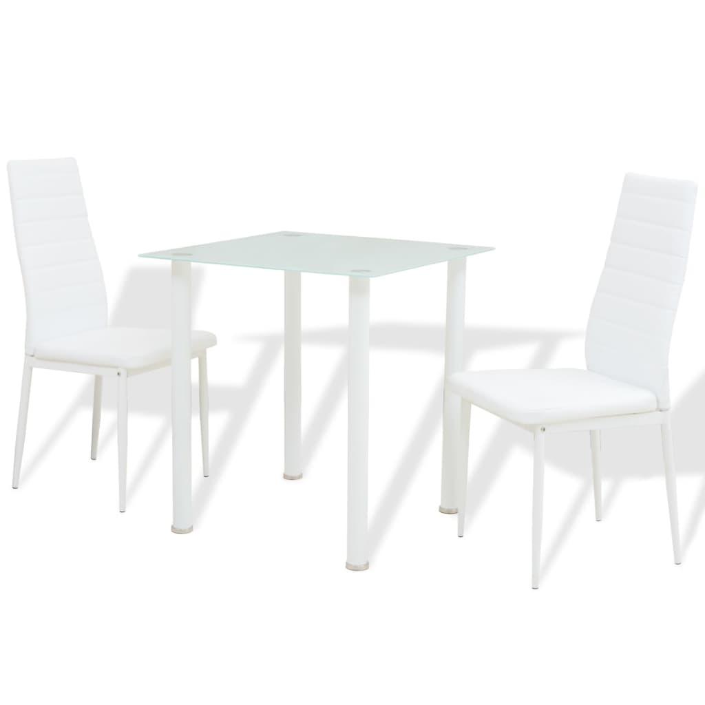 vidaXL Třídílný jídelní set stolu a židlí bílý