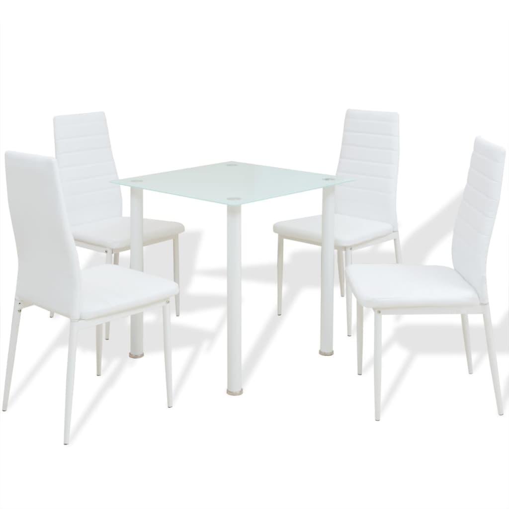 vidaXL Pětidílný jídelní set stolu a židlí bílý