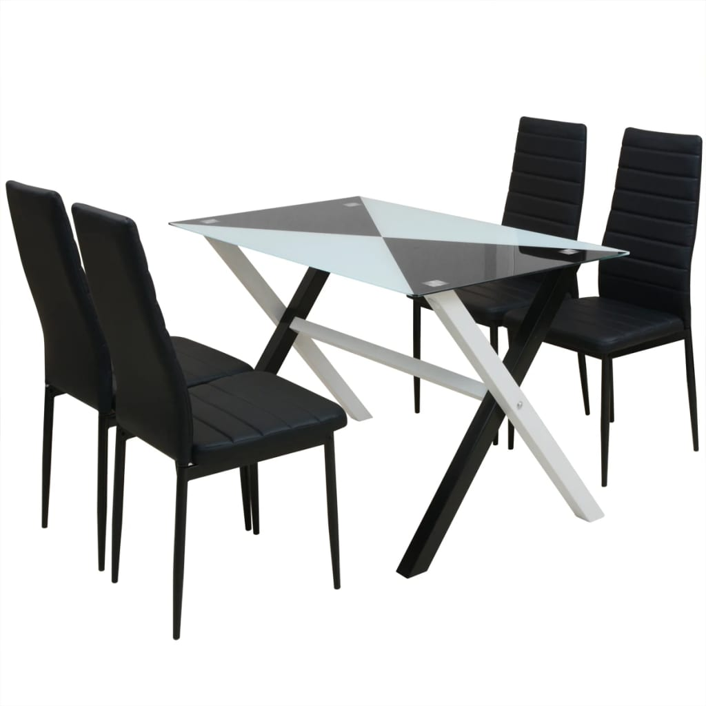 vidaXL Τραπεζαρία και Καρέκλες Πέντε Τεμάχια από Συνθετικό Δέρμα