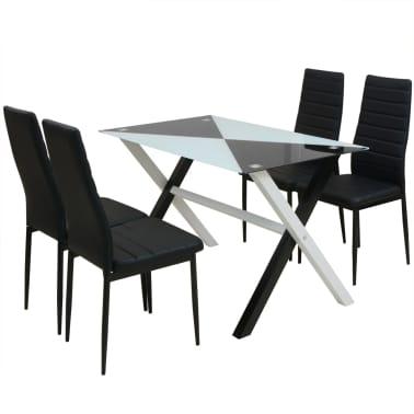 vidaXL Ensemble table et chaises de salle à manger 5 pcs en simili cuir[1/9]