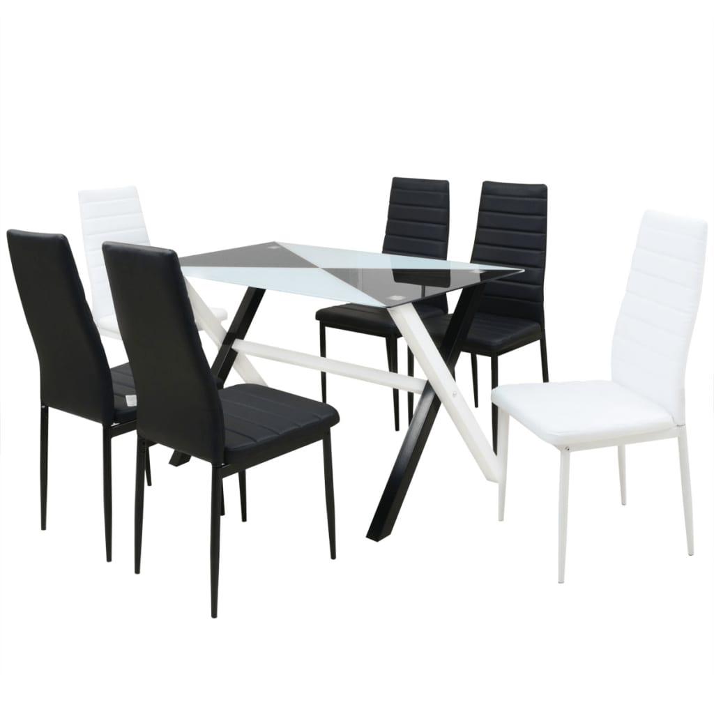 vidaXL Τραπεζαρία και Καρέκλες Επτά Τεμάχια από Συνθετικό Δέρμα