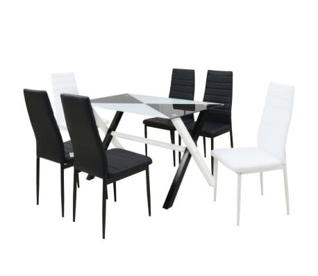 Dettagli su vidaXL Set da Pranzo Tavolo e 6 Sedie Sala Cucina in Acciaio e  Ecopelle