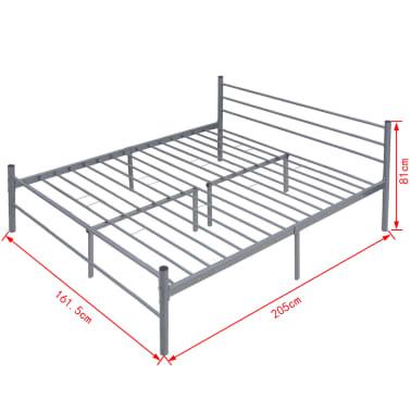 vidaxl lit double m tal gris 160 x 200 cm. Black Bedroom Furniture Sets. Home Design Ideas