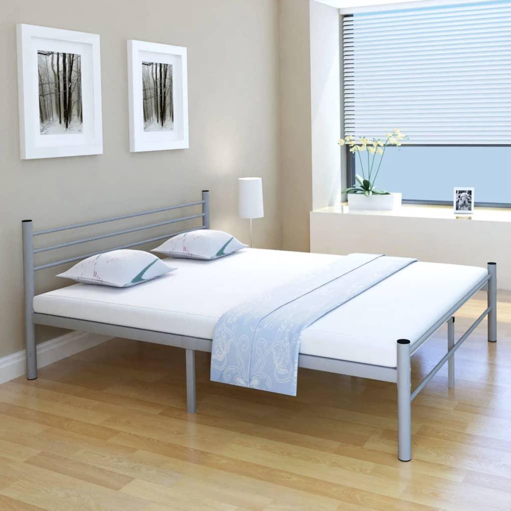 vidaXL Postel dvojlůžko kovová šedá 160 x 200 cm