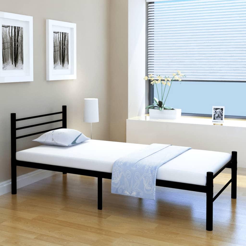 vidaXL Postel jednolůžko kovová černá 90 x 200 cm