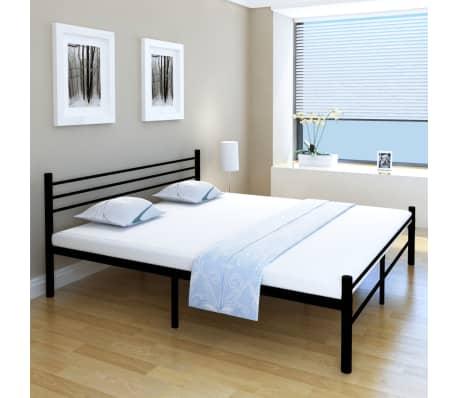 vidaxl doppelbett metall schwarz 180x200 cm g nstig kaufen. Black Bedroom Furniture Sets. Home Design Ideas