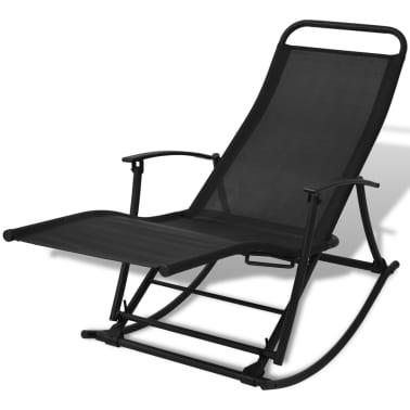 vidaXL Chaise à bascule de jardin Acier et textilène Noir[1/8]