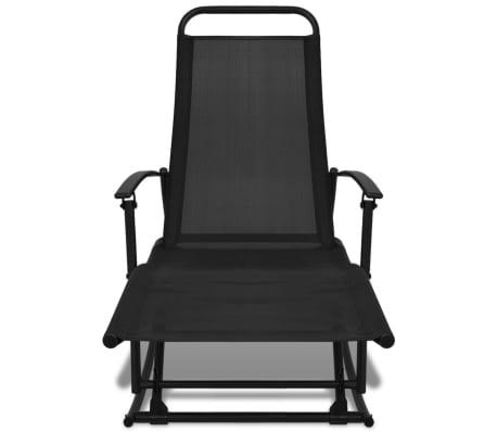 vidaXL Chaise à bascule de jardin Acier et textilène Noir[2/8]