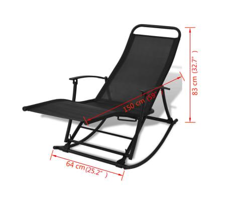 vidaXL Chaise à bascule de jardin Acier et textilène Noir[8/8]
