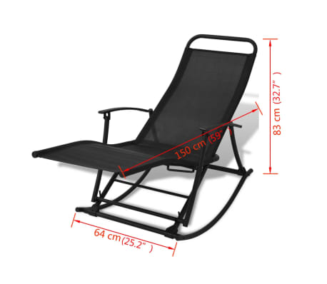 vidaXL Foldable Garden Rocking Chair Black[8/8]