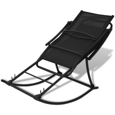vidaXL Chaise à bascule de jardin Acier et textilène Noir[3/8]