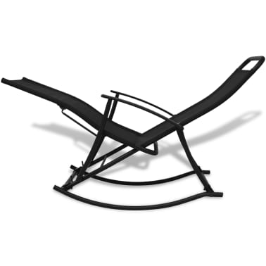 vidaXL Chaise à bascule de jardin Acier et textilène Noir[4/8]