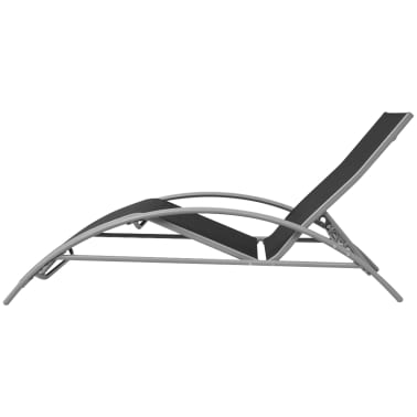 acheter vidaxl chaise longue aluminium noir pas cher. Black Bedroom Furniture Sets. Home Design Ideas