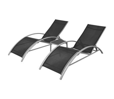 vidaXL Ligbeddenset aluminium zwart 3-delig