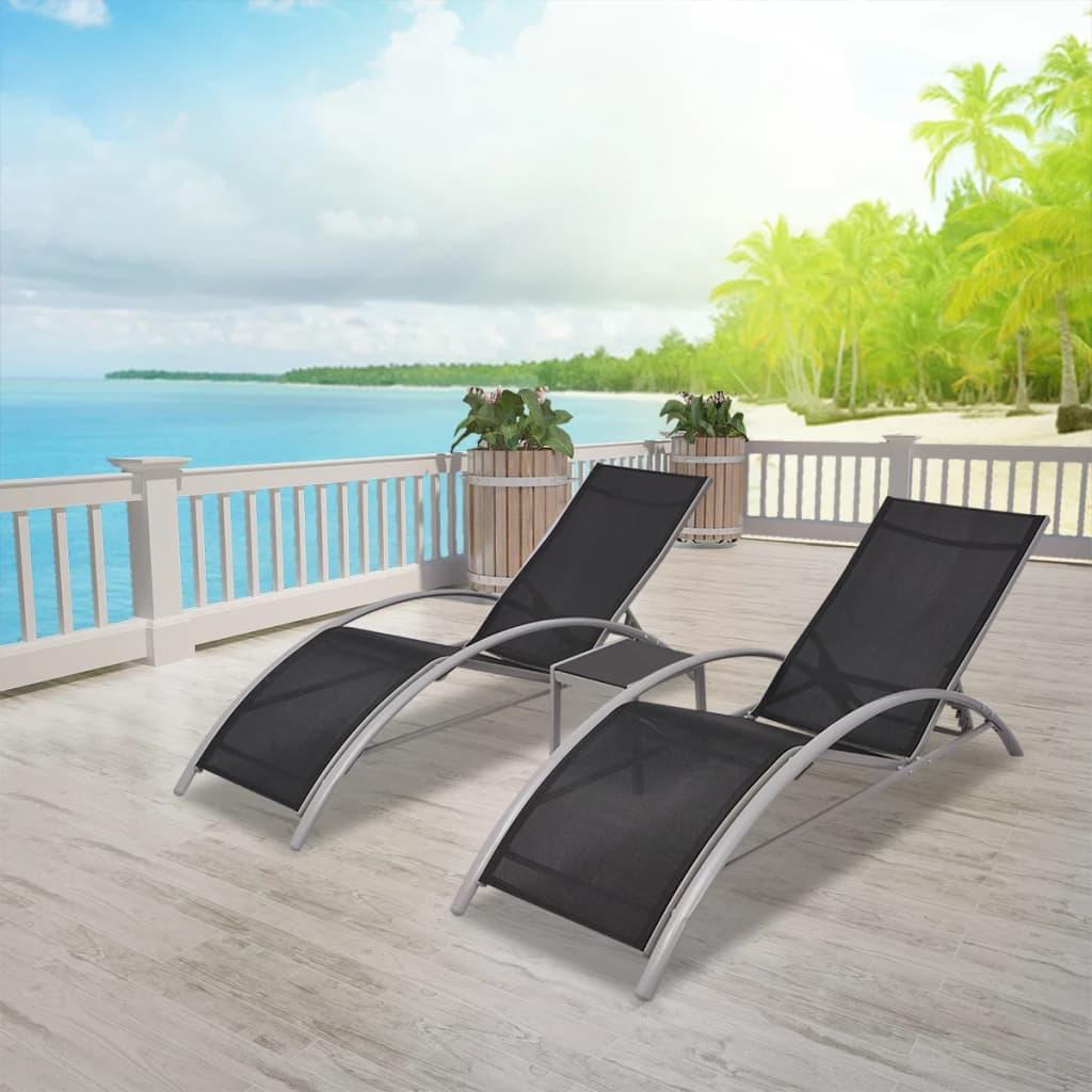 vidaXL Șezlonguri de plajă cu masă, negru, aluminiu imagine vidaxl.ro