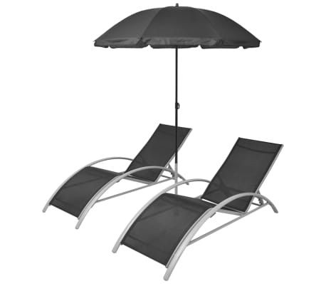 vidaXL Záhradné ležadlá so slnečníkom, hliník, čierne