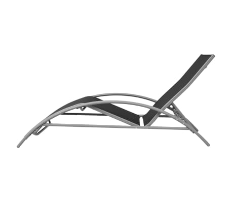 vidaXL Sun Loungers with Umbrella Aluminium Black[6/9]
