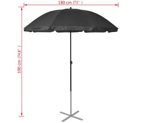 vidaXL Sun Loungers with Umbrella Aluminium Black[9/9]