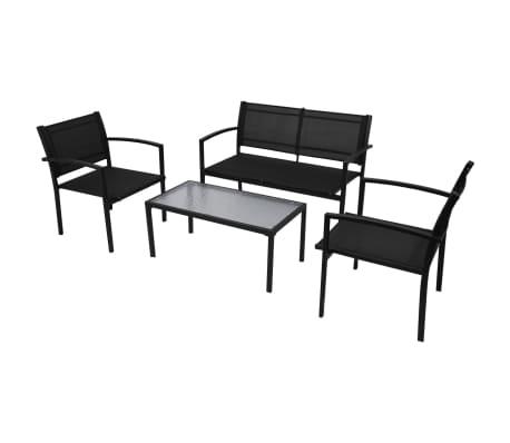 vidaXL 4-cz. zestaw wypoczynkowy do ogrodu, textilene, czarny