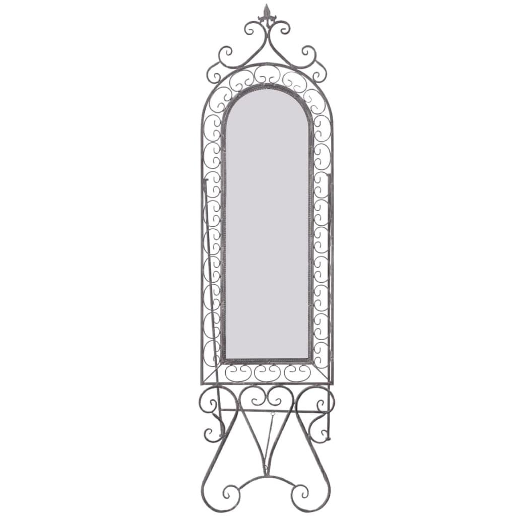 vidaXL Shabby chic stojací zrcadlo, železo s patinou, šedé