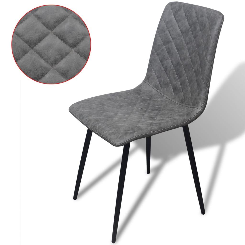 vidaXL Jídelní židle z imitace kůže 4 ks, šedé