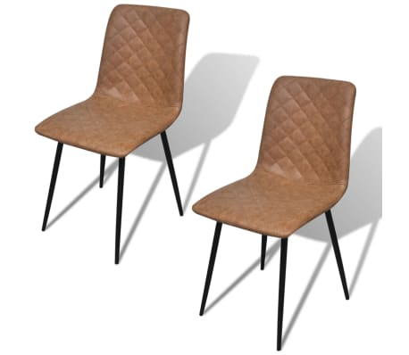 vidaXL Chaises 2 pcs en cuir artificiel Marron[2/7]