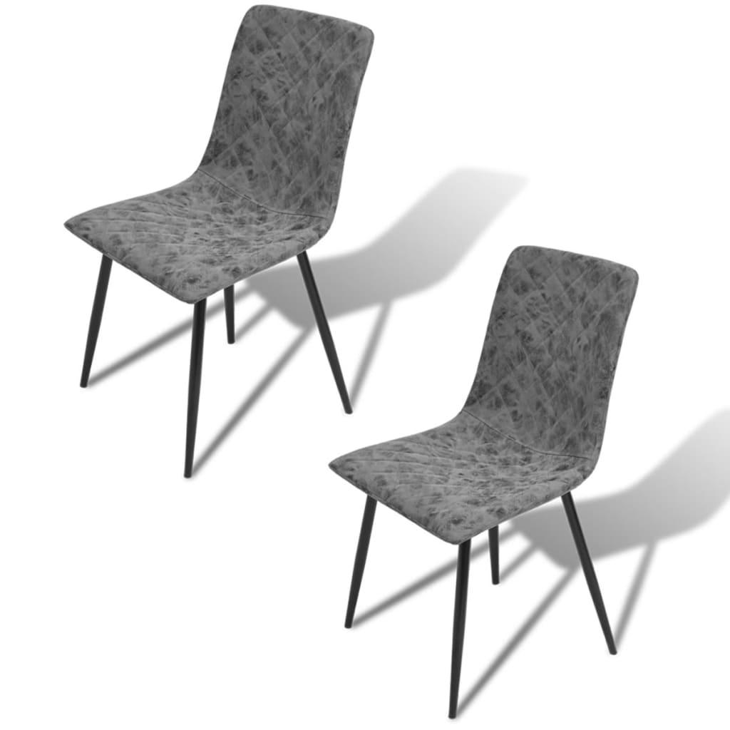vidaXL Καρέκλες Τραπεζαρίας 2 τεμ. Σκούρο Γκρι από Συνθετικό Δέρμα