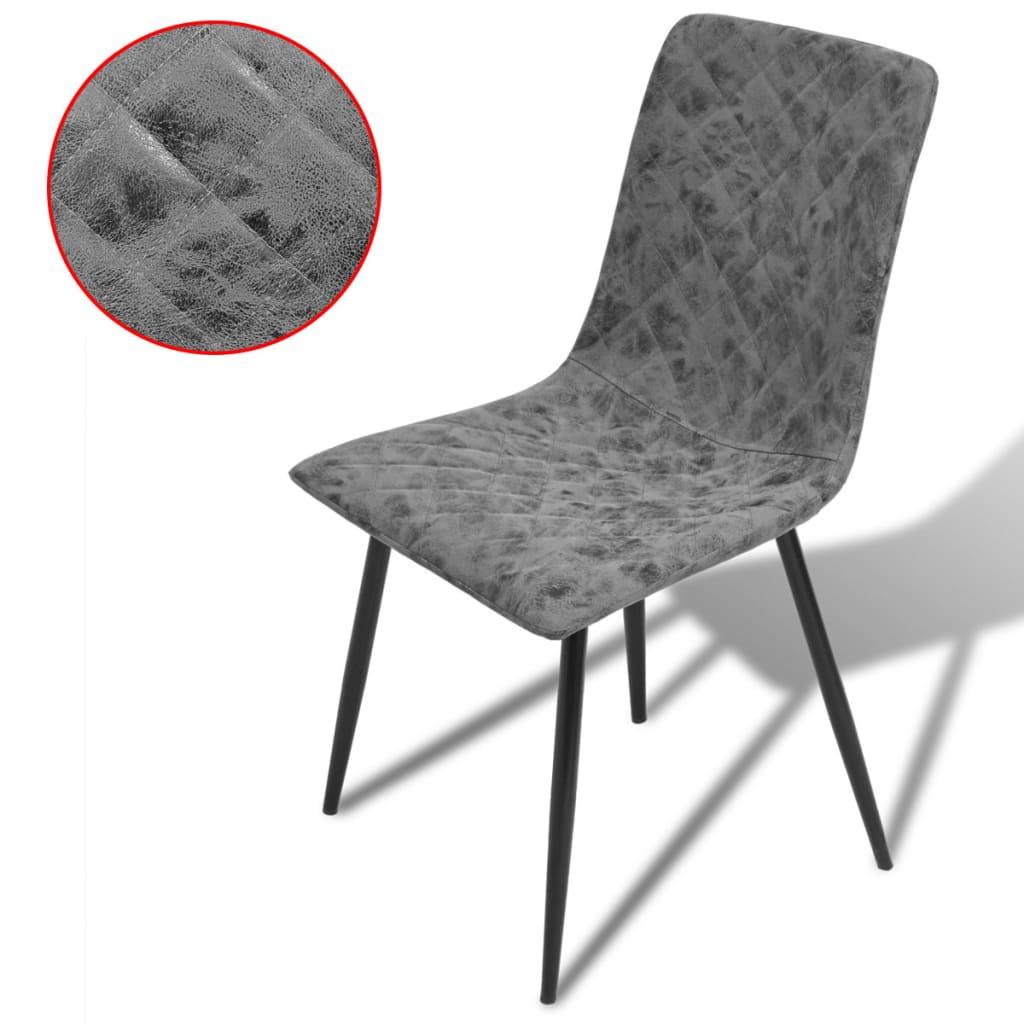 vidaXL Καρέκλες Τραπεζαρίας 4 τεμ. Σκούρο Γκρι από Συνθετικό Δέρμα