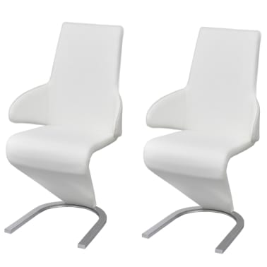 vidaXL Cantilever Dining Chairs 2 pcs Artificial Leather White[1/7]