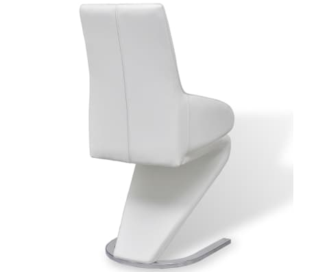 vidaXL Cantilever Dining Chairs 2 pcs Artificial Leather White[5/7]