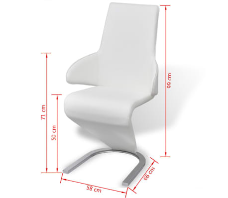 vidaXL Cantilever Dining Chairs 2 pcs Artificial Leather White[7/7]