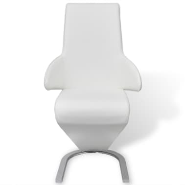vidaXL Cantilever Dining Chairs 2 pcs Artificial Leather White[2/7]