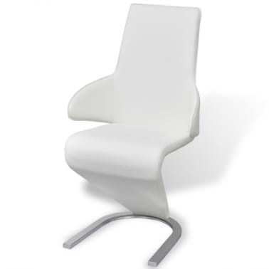 vidaXL Cantilever Dining Chairs 2 pcs Artificial Leather White[3/7]