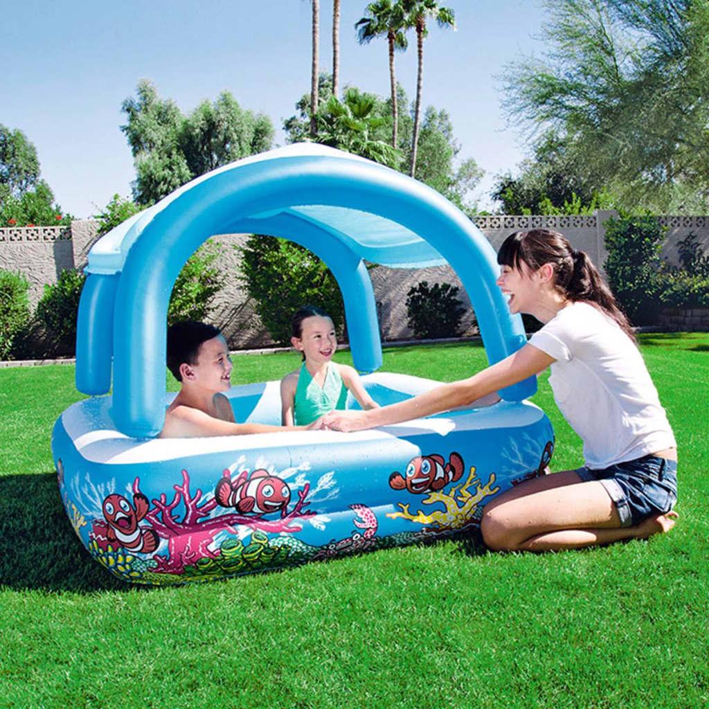 Bestway Dětský nafukovací bazén se stříškou modrý 147x147x122 cm 52192