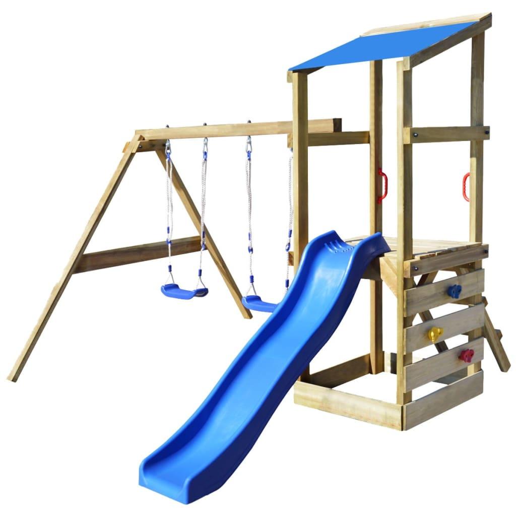 vidaXL Hrací věž, set s žebříkem, skluzavkou a houpačkami 290x260x235 cm dřevo