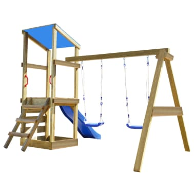 vidaXL Playhouse Set with Ladder, Slide and Swings 290x260x235 cm Wood[3/9]