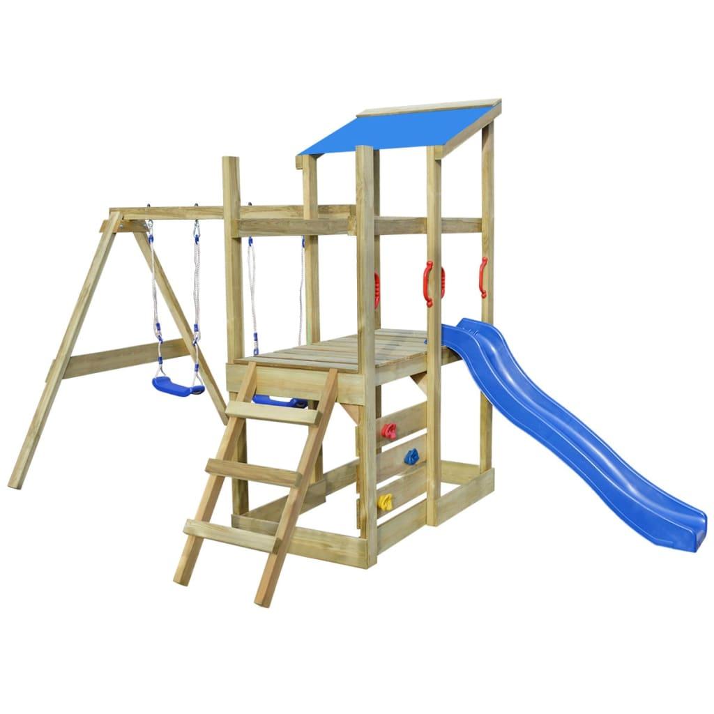 vidaXL Hrací věž, set s žebříkem, skluzavkou a houpačkami 400x226x235 cm dřevo