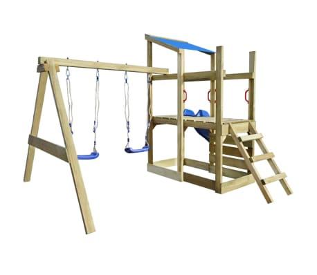 vidaXL Lekplats med trappa rutchkana och gungor 400x226x235 cm trä[3/7]